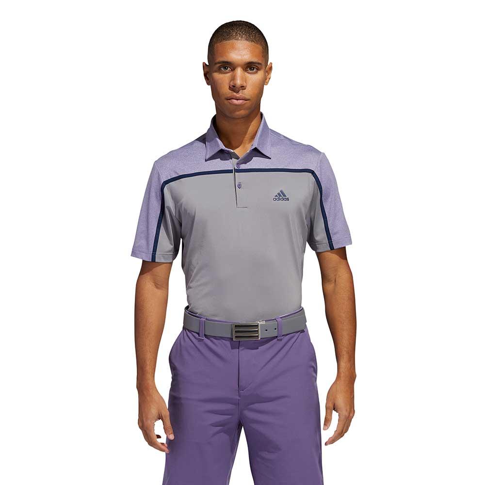 Adidas Men's Ultimate365 Colorblock Grey Three/Tech Purple Polo