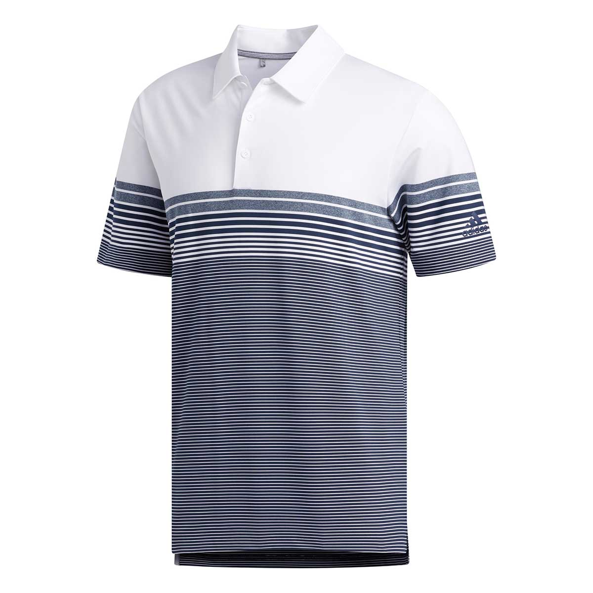 Adidas Men's Ultimate365 Gradient Block Stripe White/Navy Polo
