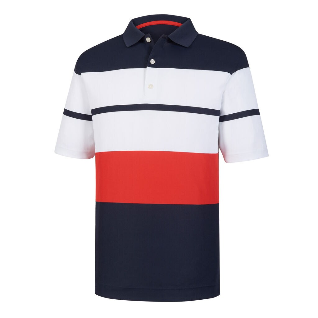 FootJoy 2019 ProDry Color Block Smooth Pique Navy/White/Red Polo