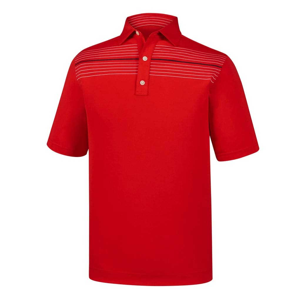 FootJoy Athletic Fit Lisle Chest Pinstripe Red Polo