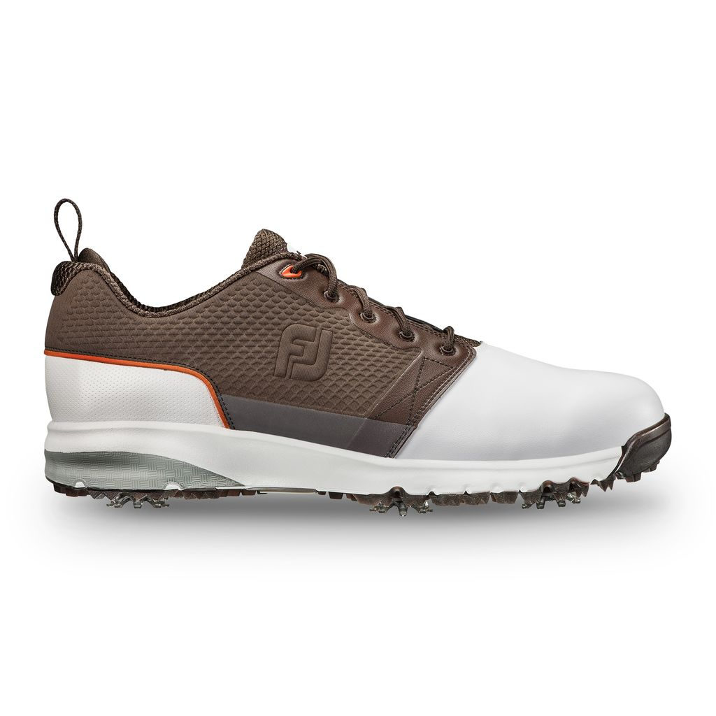 FootJoy Contour Fit White/Brown Golf Shoe (FJ Style# 54096) side
