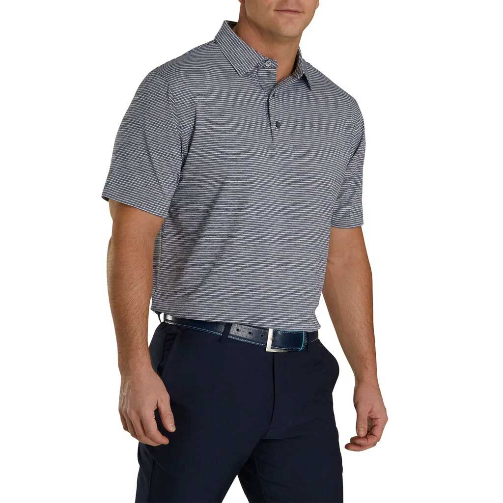 FootJoy Heather Pinstripe Lisle Navy/White Polo