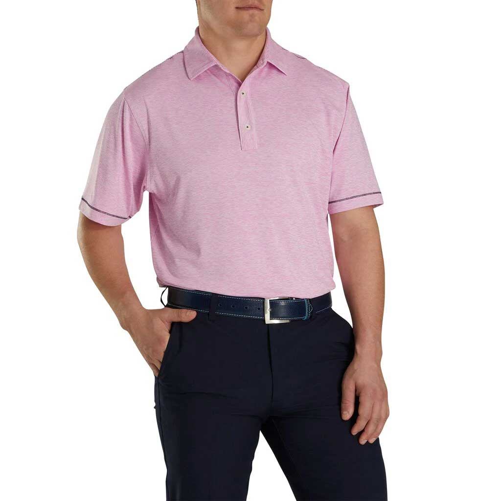 FootJoy Lisle Space Dye Microstripe Ice Berry Polo