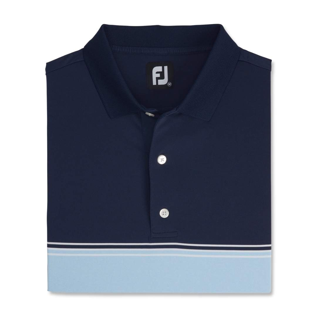 FootJoy Men's Color Block Lisle Knit Collar Polo - Navy