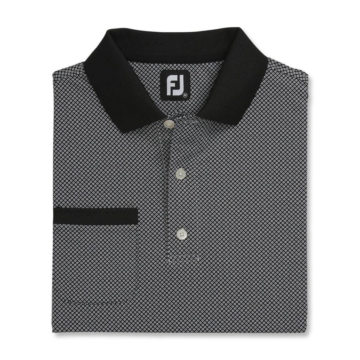 FootJoy Men's Diamond Jacquard Black Polo