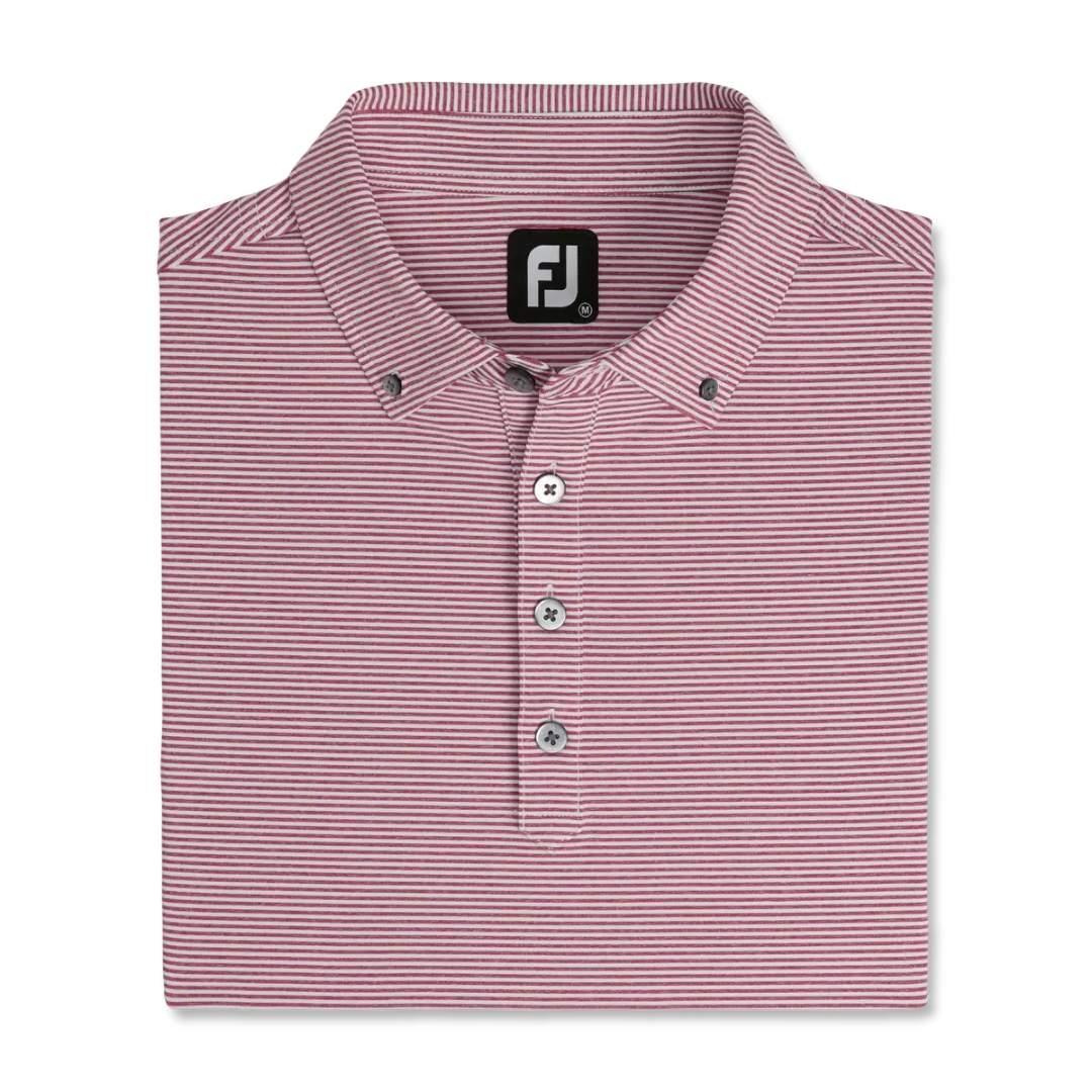 FootJoy Men's Feeder Stripe Lisle Buttondown Collar Polo - Heather Merlot