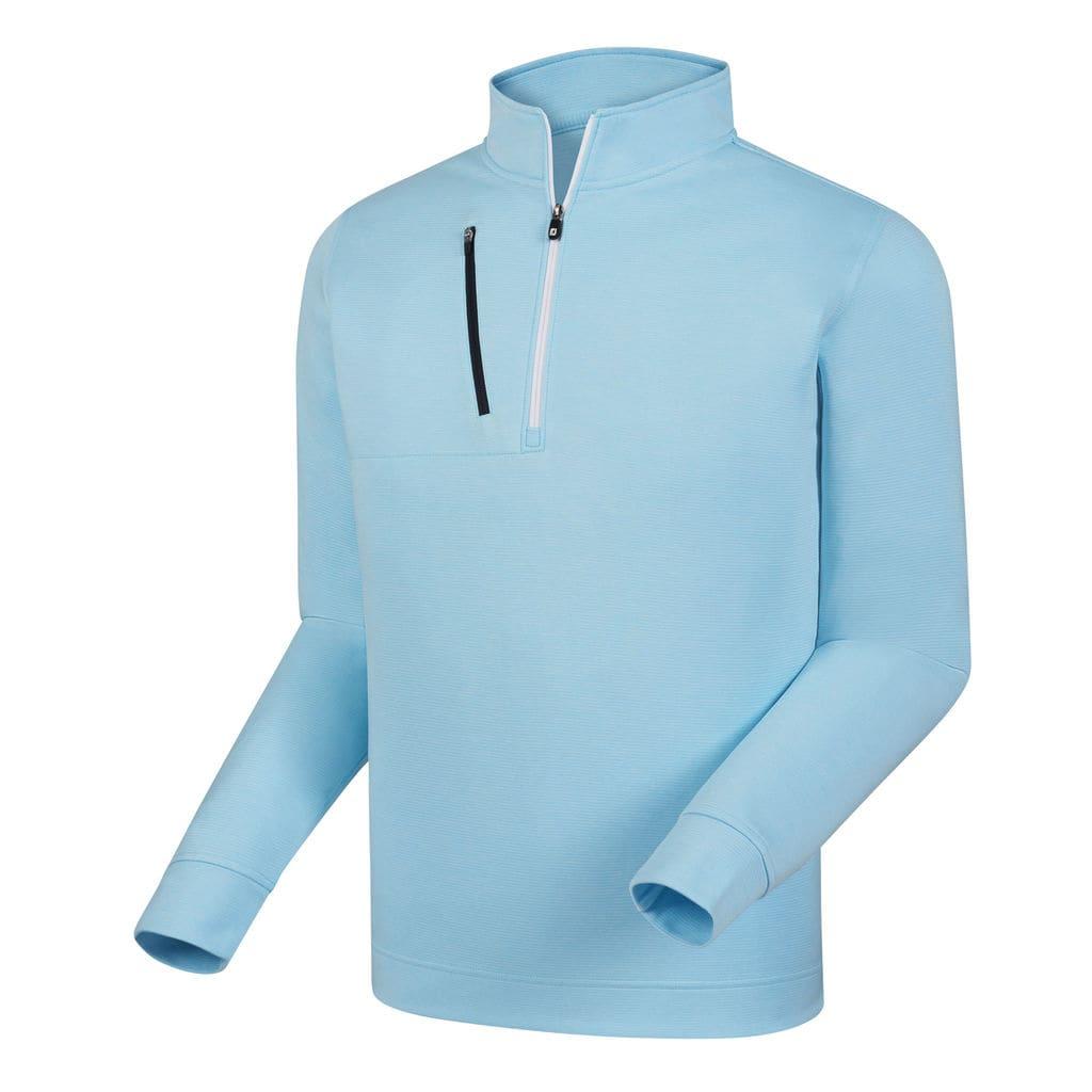 FootJoy Men's Heather Pinstripe Half-Zip Blue Pullover