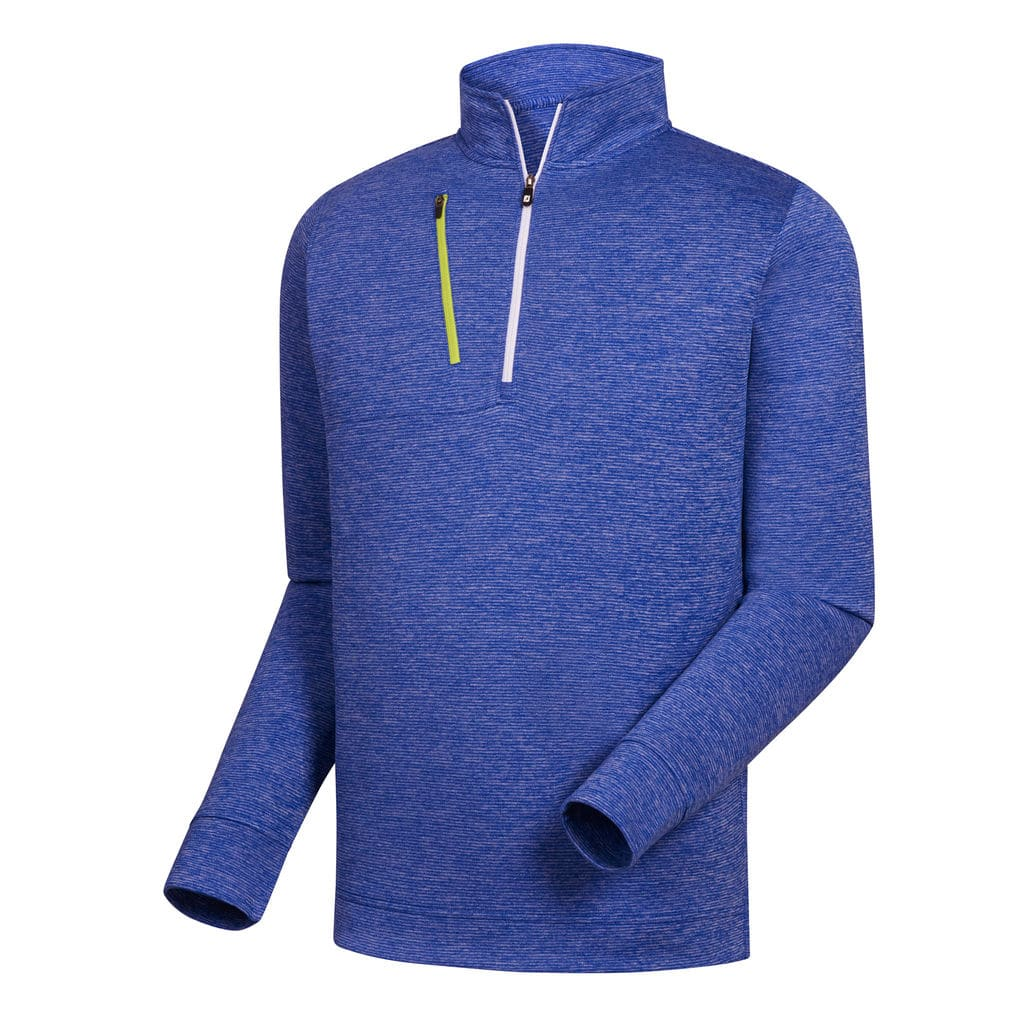 FootJoy Men's Heather Pinstripe Half-Zip Royal Pullover