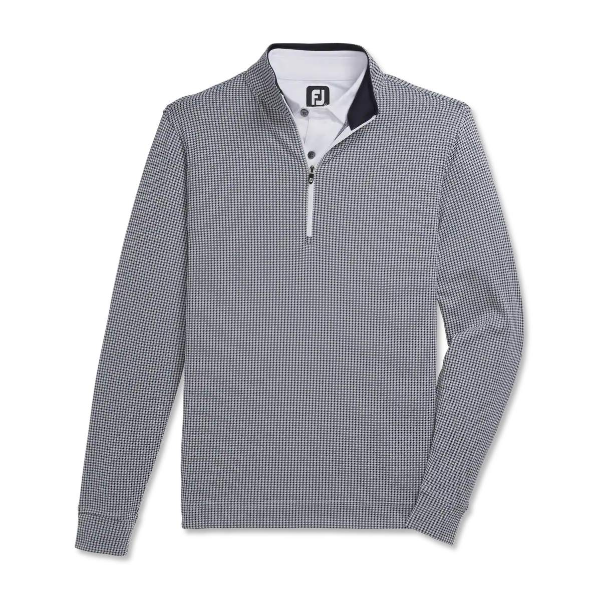 FootJoy Men's Houndstooth Jacquard 1/4 Zip Navy Pullover