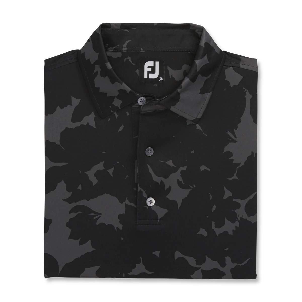 FootJoy Men's Lisle Camo Floral Black Polo
