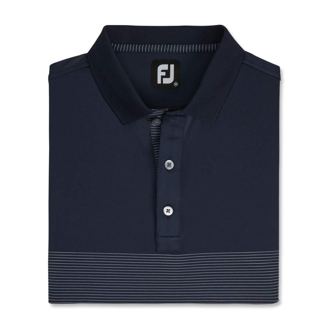 FootJoy Men's Lisle Engineered Pin Stripe Self Collar Polo - Navy