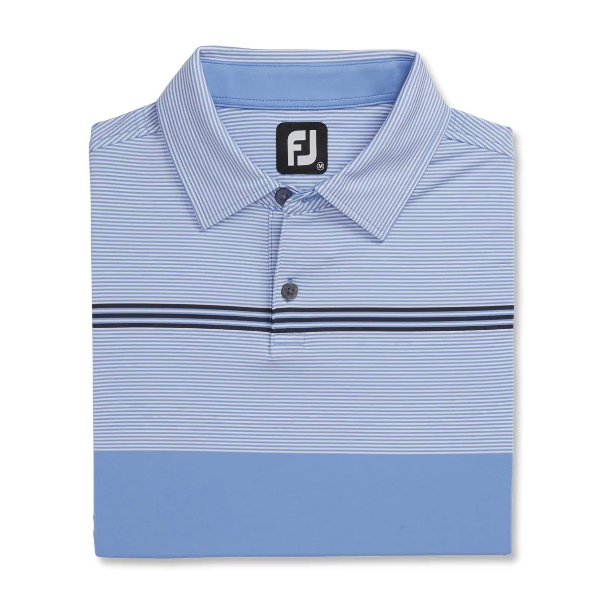 FootJoy Men's Lisle Engineered Pinstripe Lagoon/White/Navy Polo