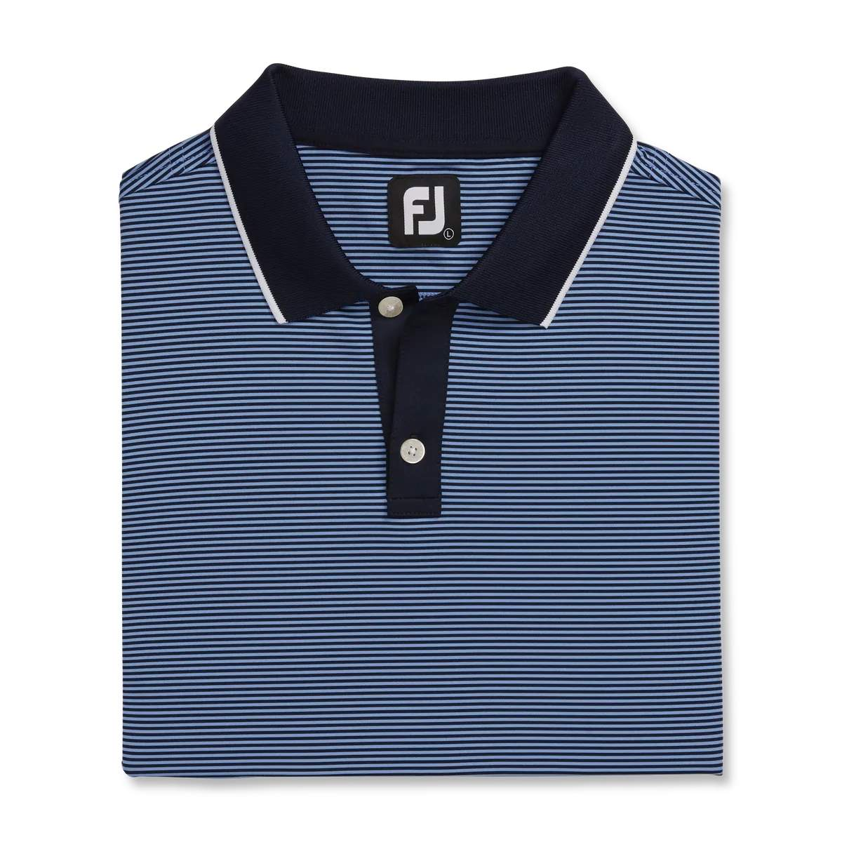 FootJoy Men's Lisle Ministripe Navy/Lagoon Polo