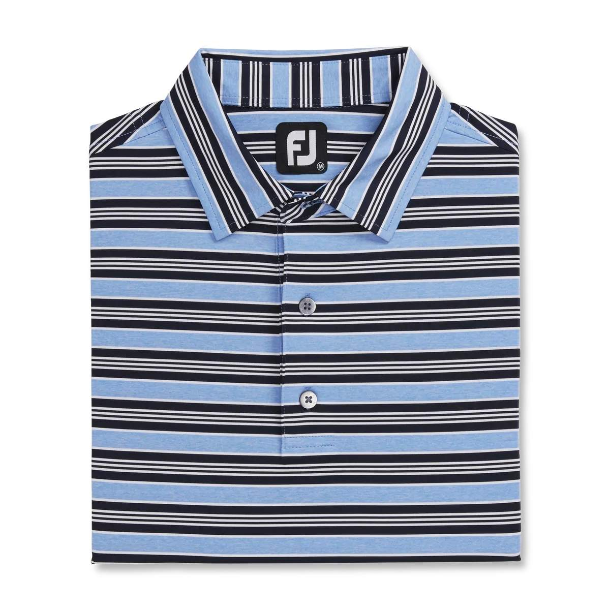 FootJoy Men's Lisle Traditional Stripe Lagoon/Navy/White Polo