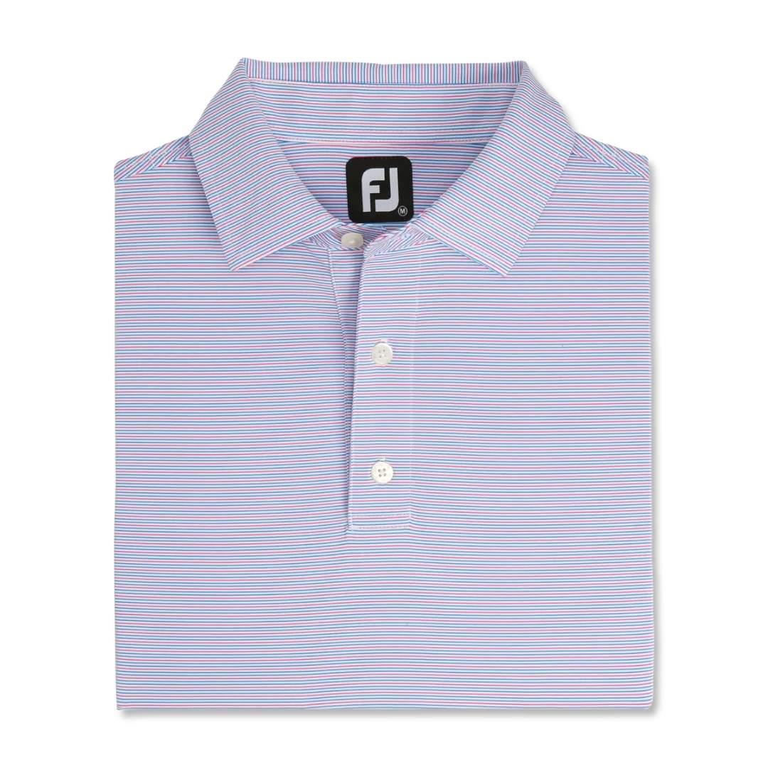 FootJoy Men's Pin Stripe Lisle Self Collar Polo - White/French Blue