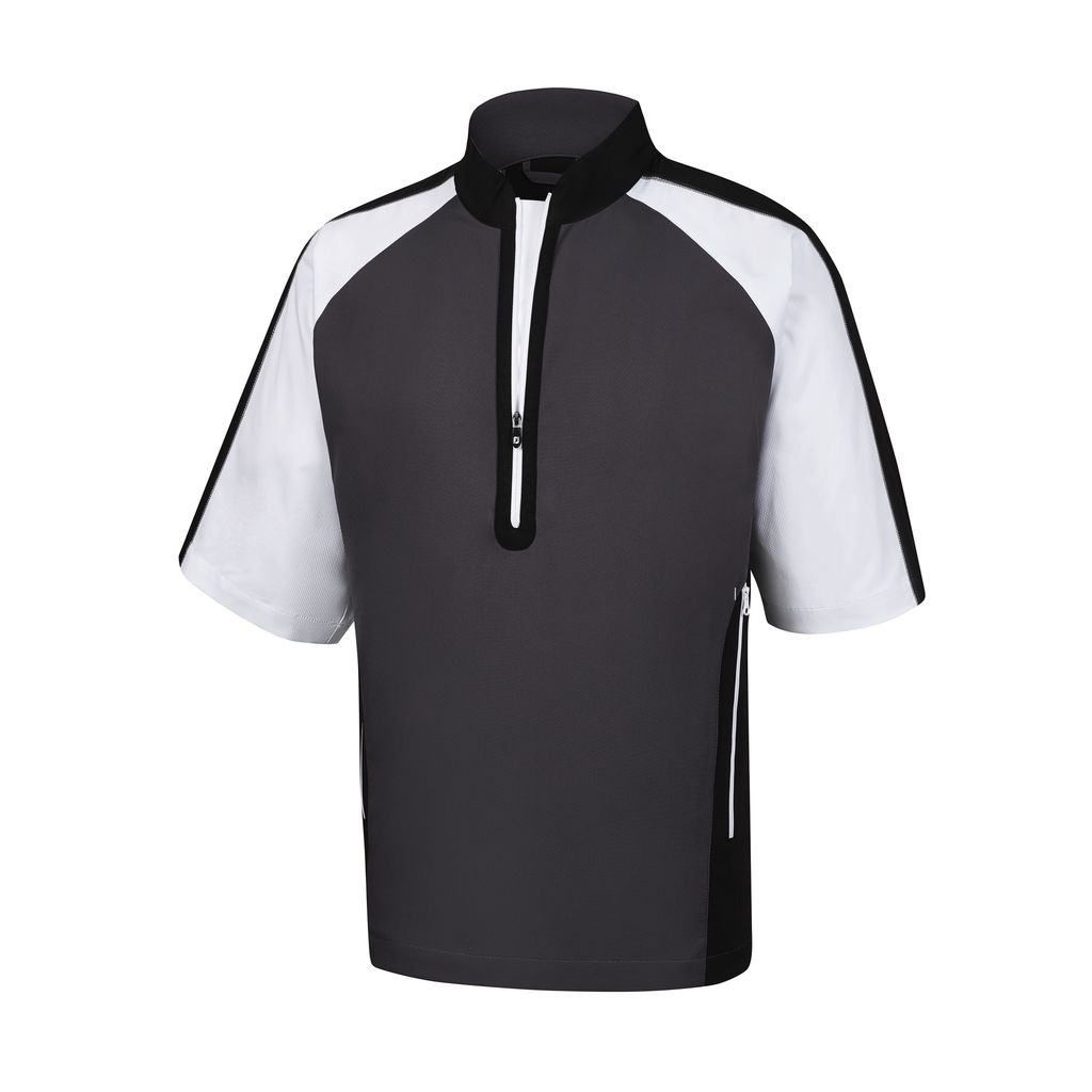 FootJoy Mens Short Sleeve Sport Windshirt - Charcoal/Black/White