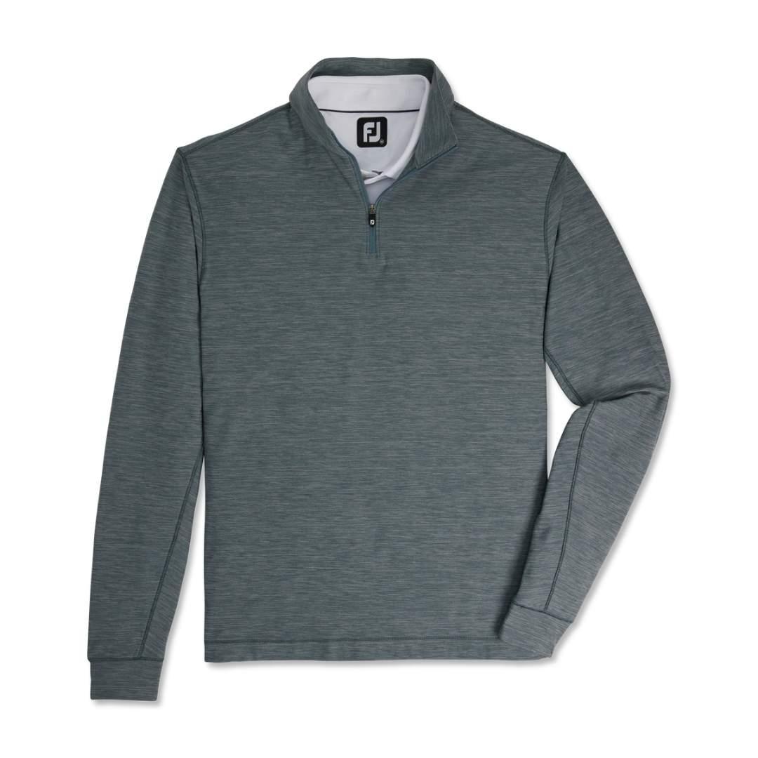 FootJoy Men's Space Dye Brushed Back Jersey 1/4 Zip Pullover - Smoke