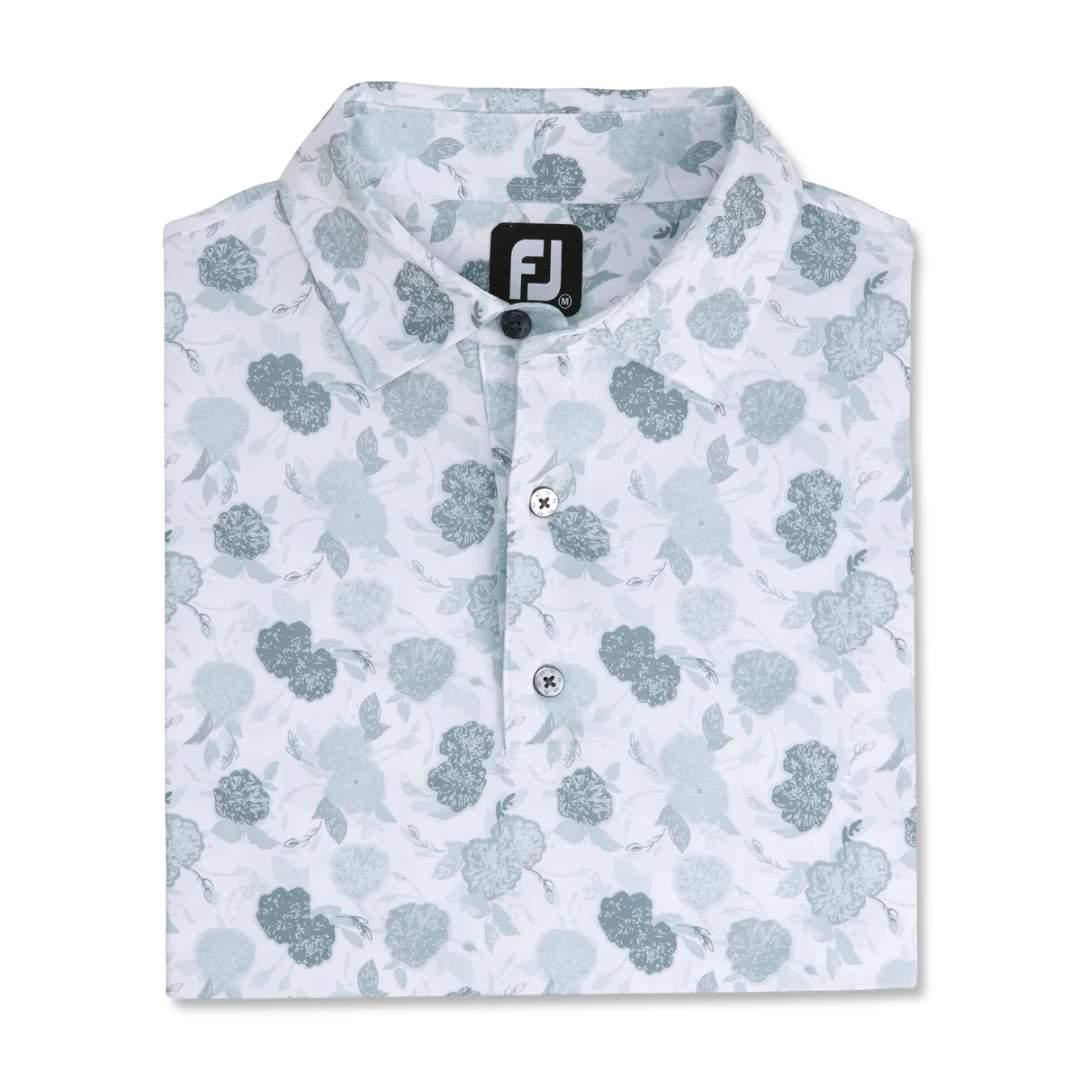 FootJoy Men's Vintage Floral Print Lisle Self Collar Polo - Grey