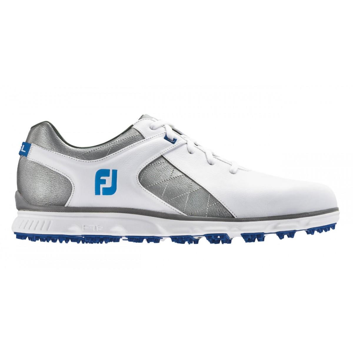 FootJoy Pro SL Spikeless White/Grey/Light Blue Golf Shoes - Previous Season #53266