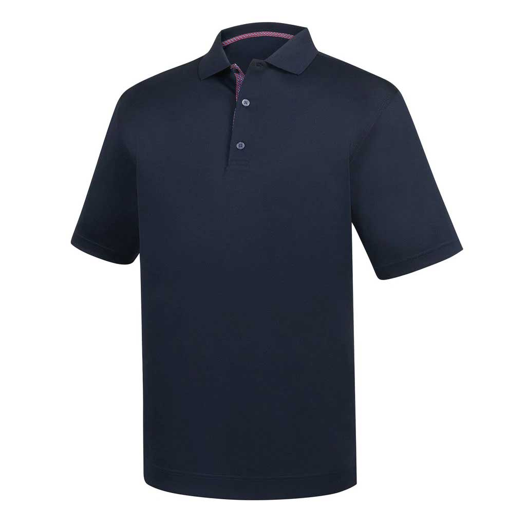 FootJoy Stretch Pique Navy Basketweave Print Collar Polo
