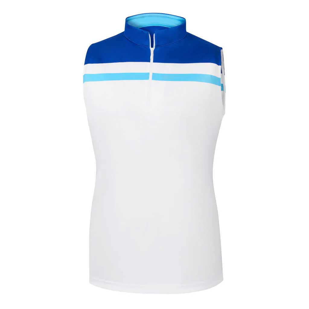 FootJoy Women's Interlock Color Block Sleeveless White/Royal Polo