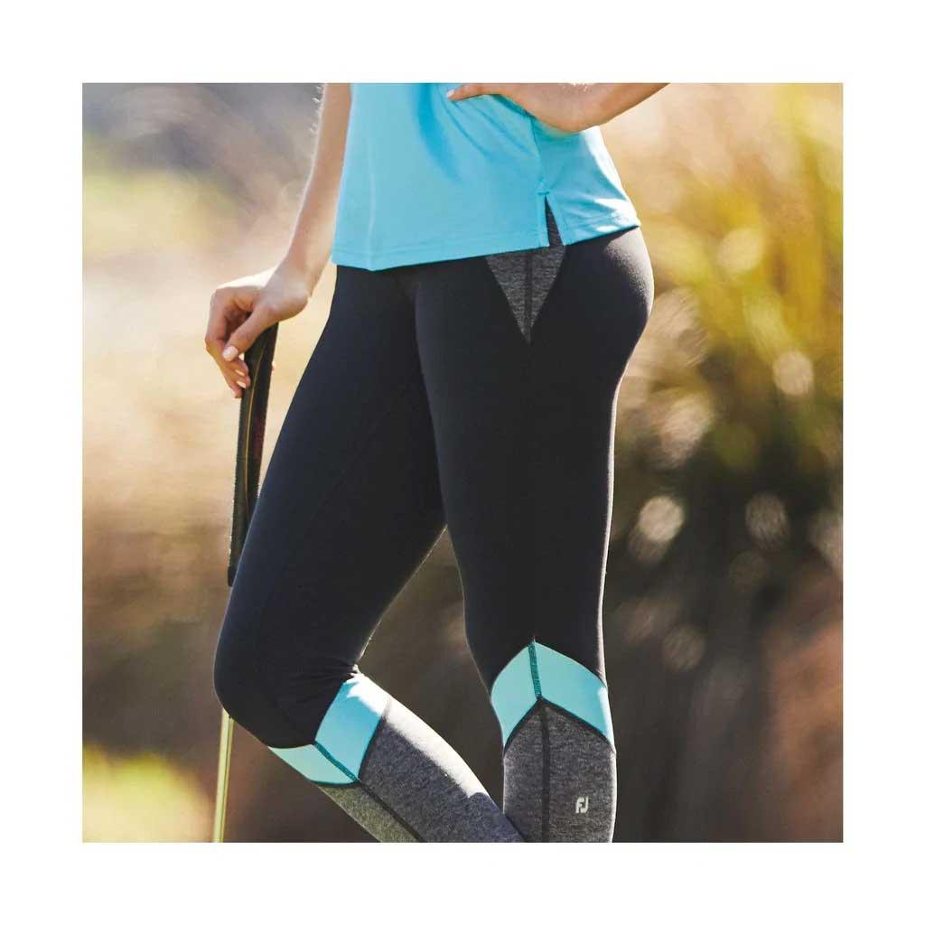 FootJoy Women's Multi-Color Black/Charcoal/Bluefish Leggings
