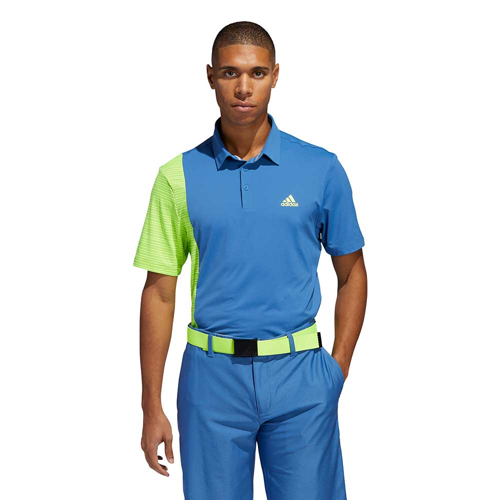 Adidas Men's Ultimate365 Blocked Print Royal/Solar Polo