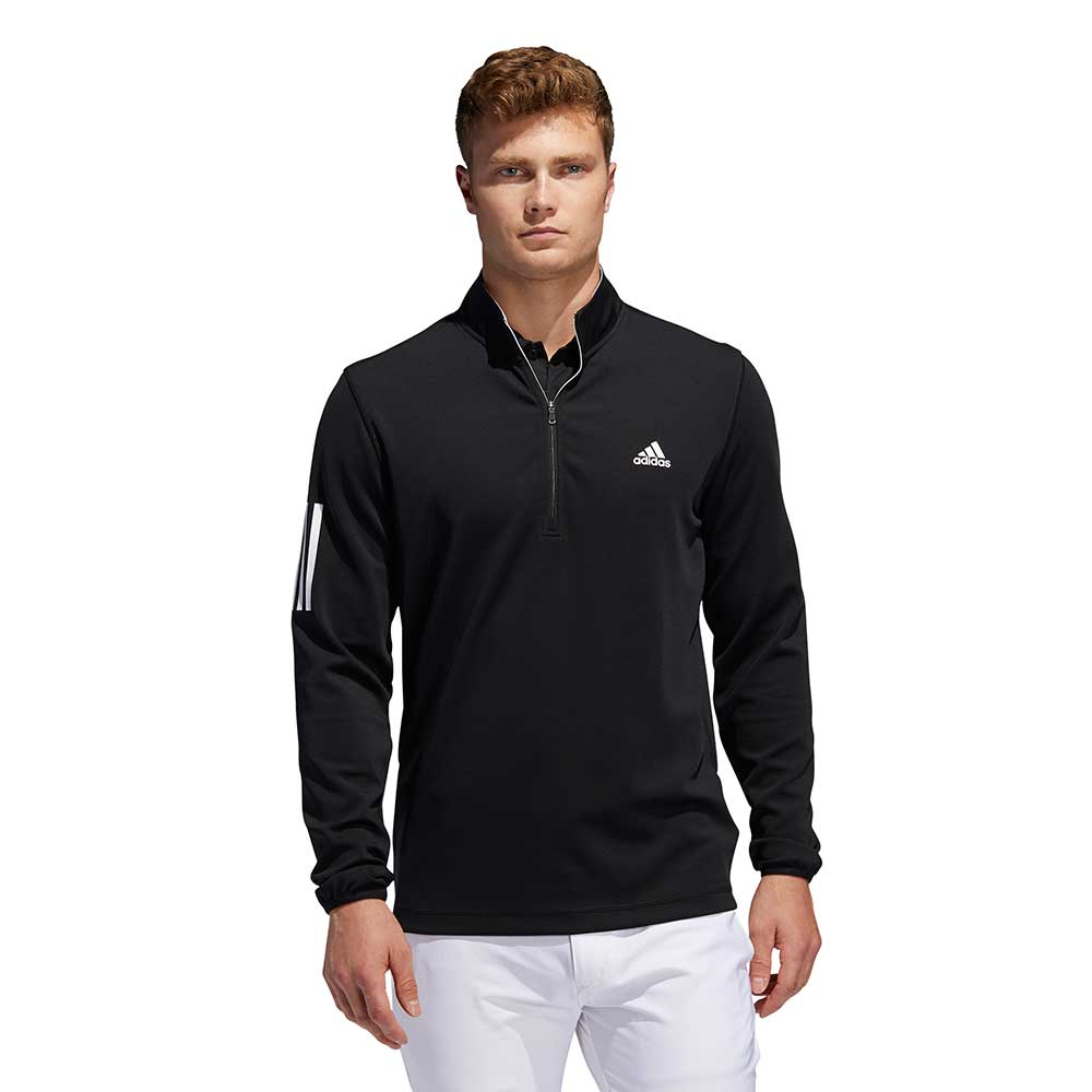 Adidas Men's 3-Stripes Midweight Layering Black Pullover