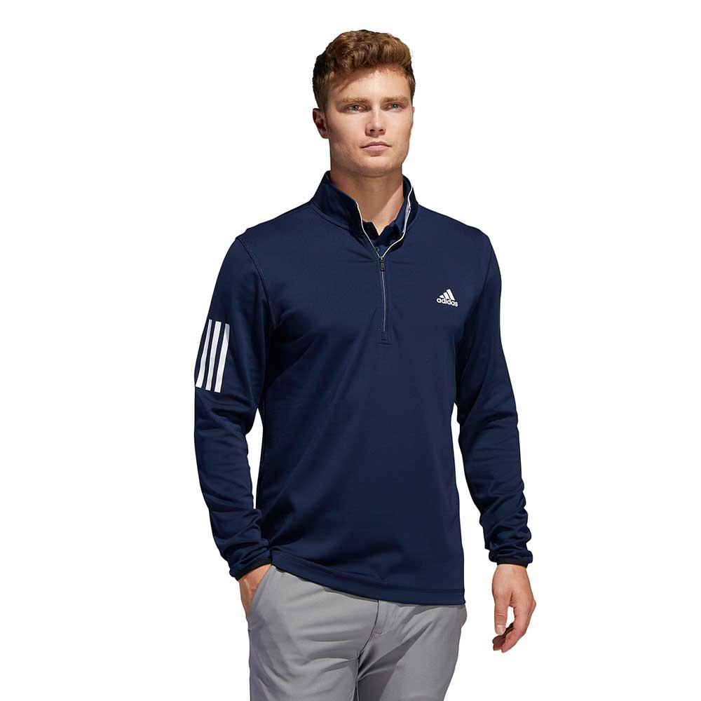 Adidas Men's 3-Stripes Midweight Layering Navy Pullover