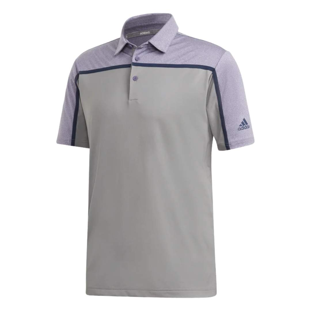 Adidas Men's Ultimate365 3-Stripes Grey Three/Tech Purple Polo