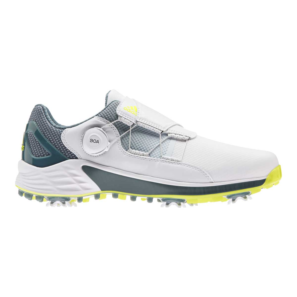 Adidas Men's ZG21 BOA White/Acid Yellow Golf Shoe