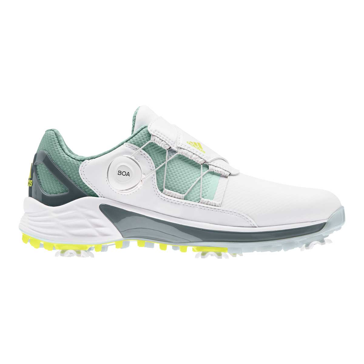 Adidas Women's ZG21 BOA White/Acid Yellow Golf Shoe