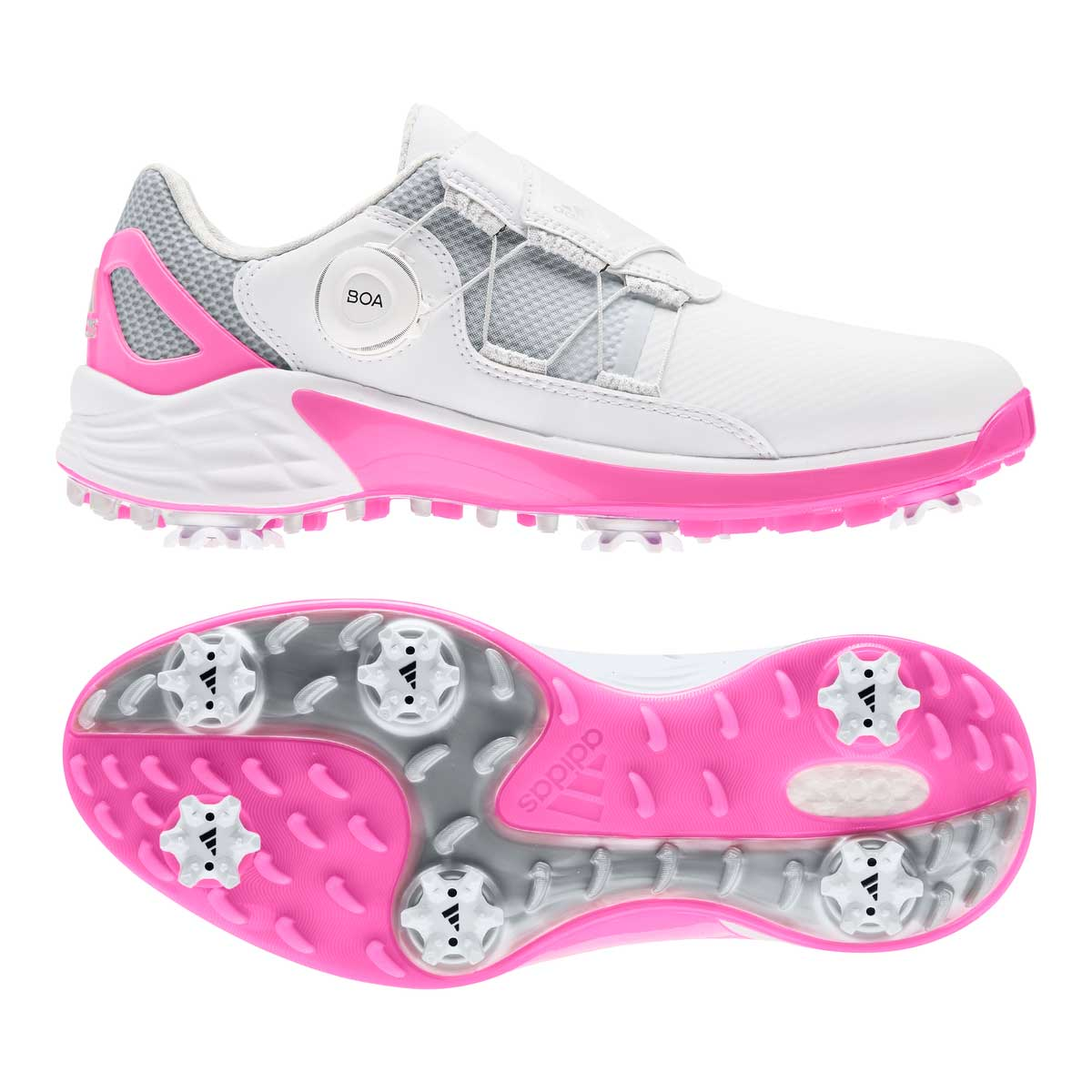 Adidas Women's ZG21 BOA White/Screaming Pink Golf Shoe