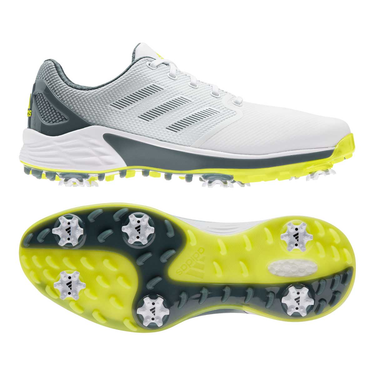 Adidas Men's ZG21 White/Acid Yellow Golf Shoe