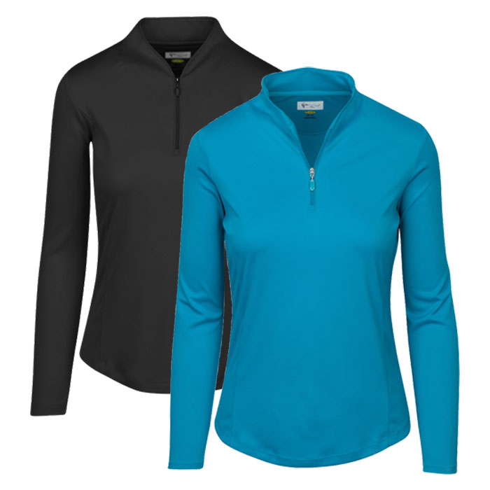 Greg Norman Women's Zip Long Sleeve Tulip Neck Pullover