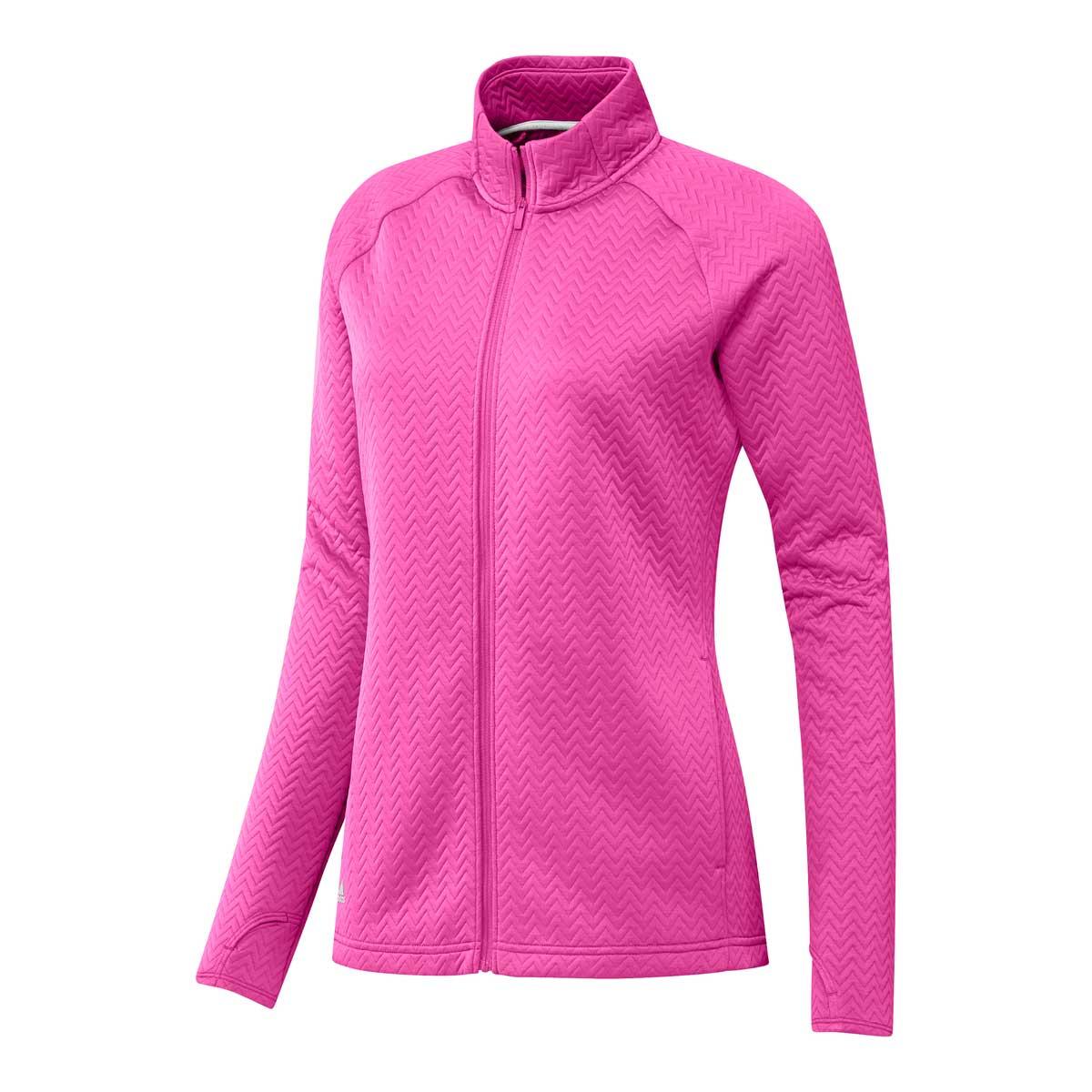 Adidas Women's Textured Full Zip Screaming Pink Jacket