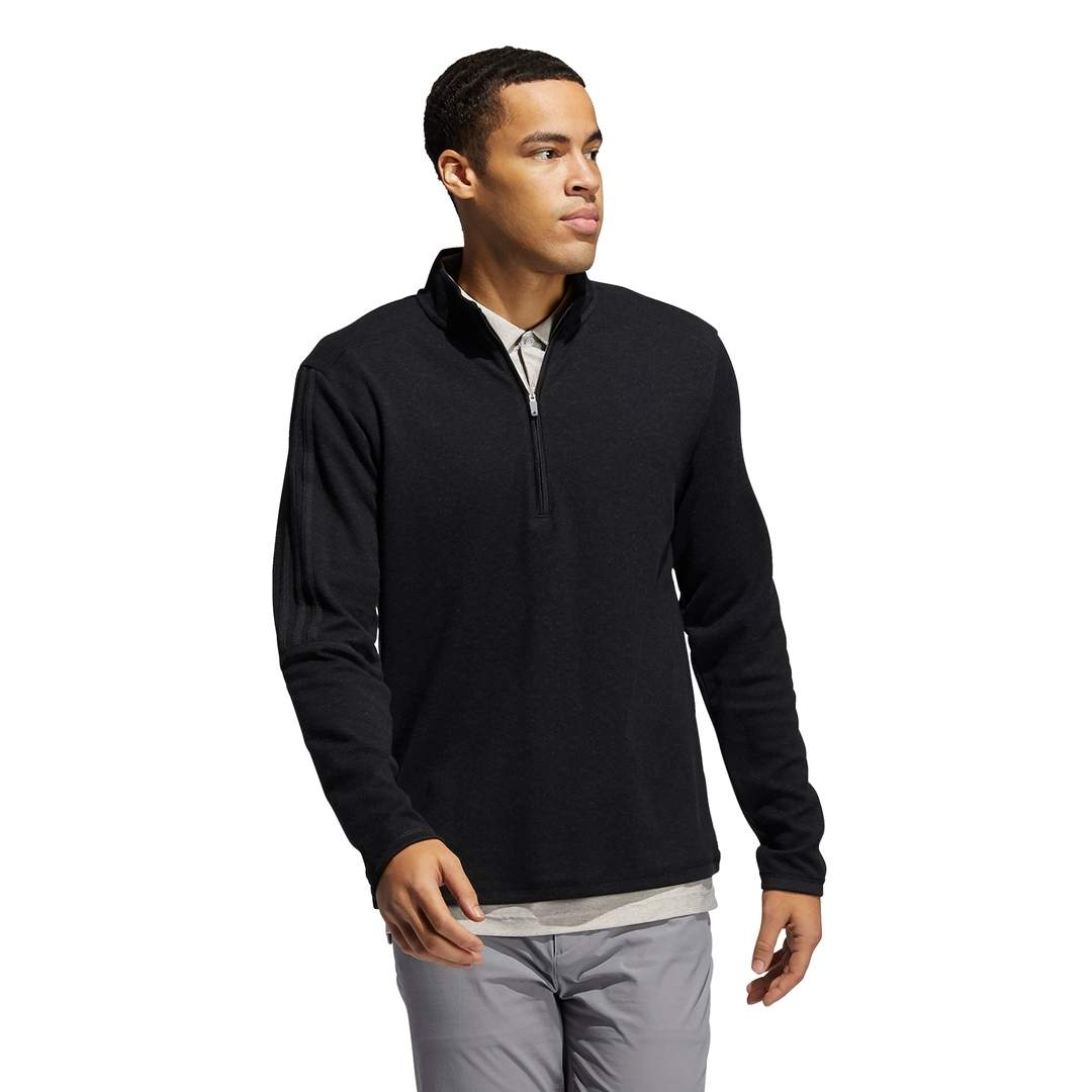 Adidas Men's 3-Stripe 1/4 Zip Layering Black Melange Pullover