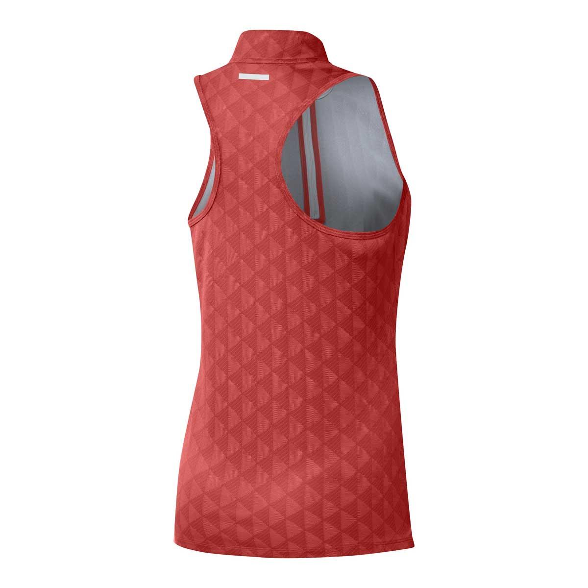 Adidas Women's Heat.RDY Zip Crew Red Sleeveless Polo