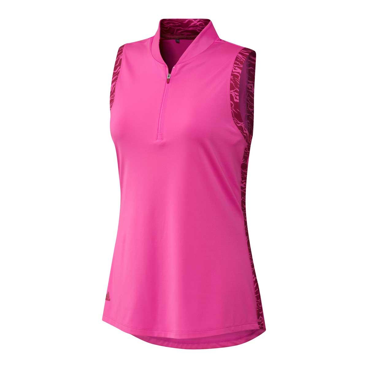 Adidas Women's Ultimate 365 Printed Screaming Pink Sleeveless Polo