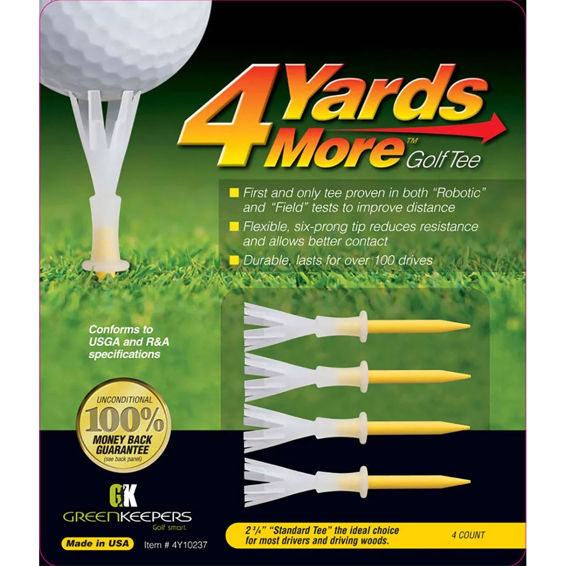 Green Keepers 4 Yards More 2 3/4 Golf Tees