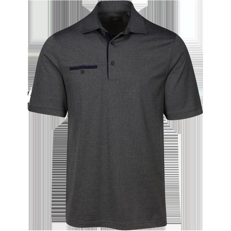 Greg Norman Mens Modern Heritage Heathered Pocket Polo Black