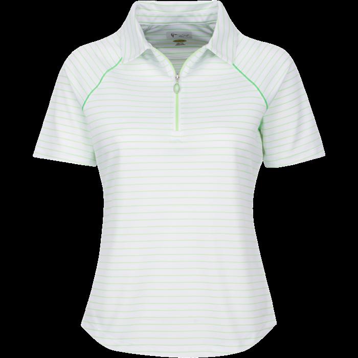 Greg Norman Women's Short Sleeve Zip Stripe Polo Green