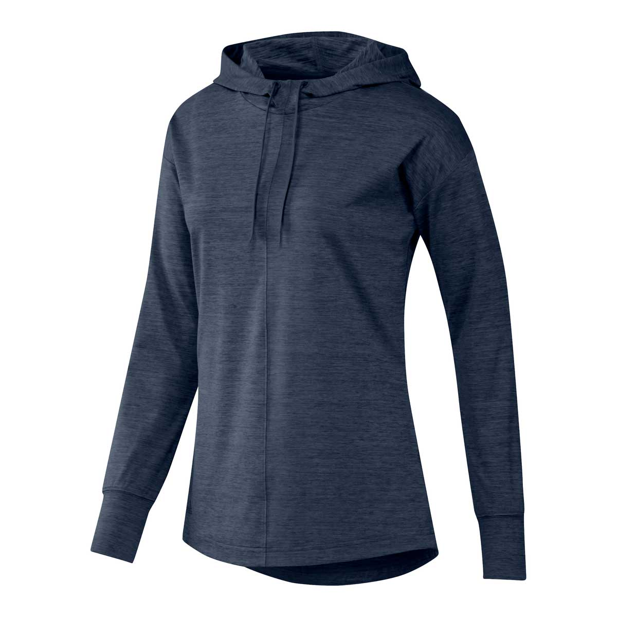 Adidas Women's Essentials Heathered Crew Navy Hoodie Pullover