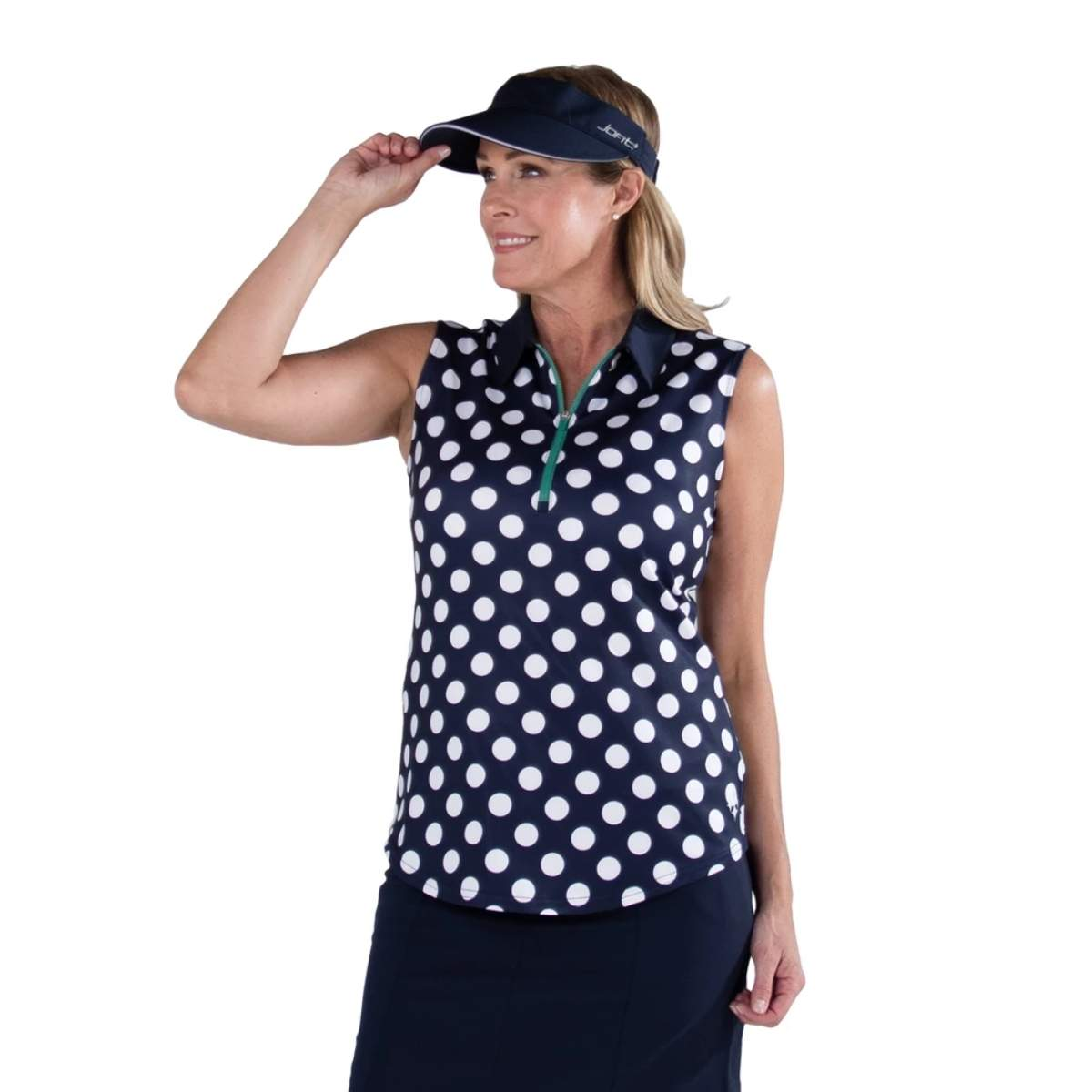 Jofit Women's Printed Sleeveless Polka Dot Polo