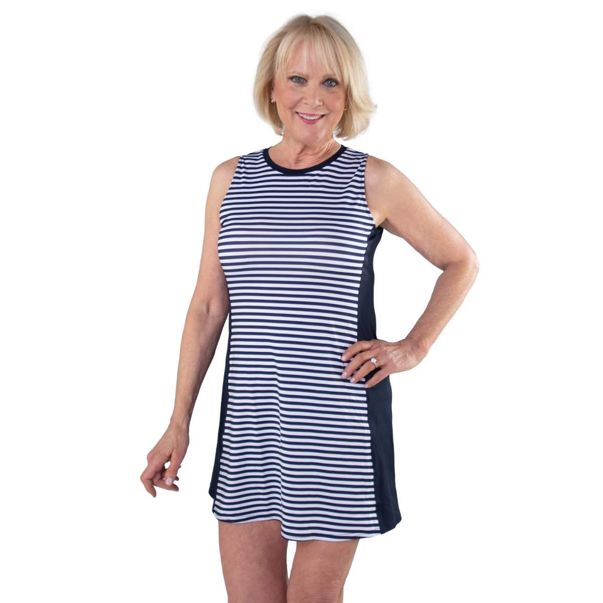 Jofit Women's Sleeveless Swing Stripe Dress