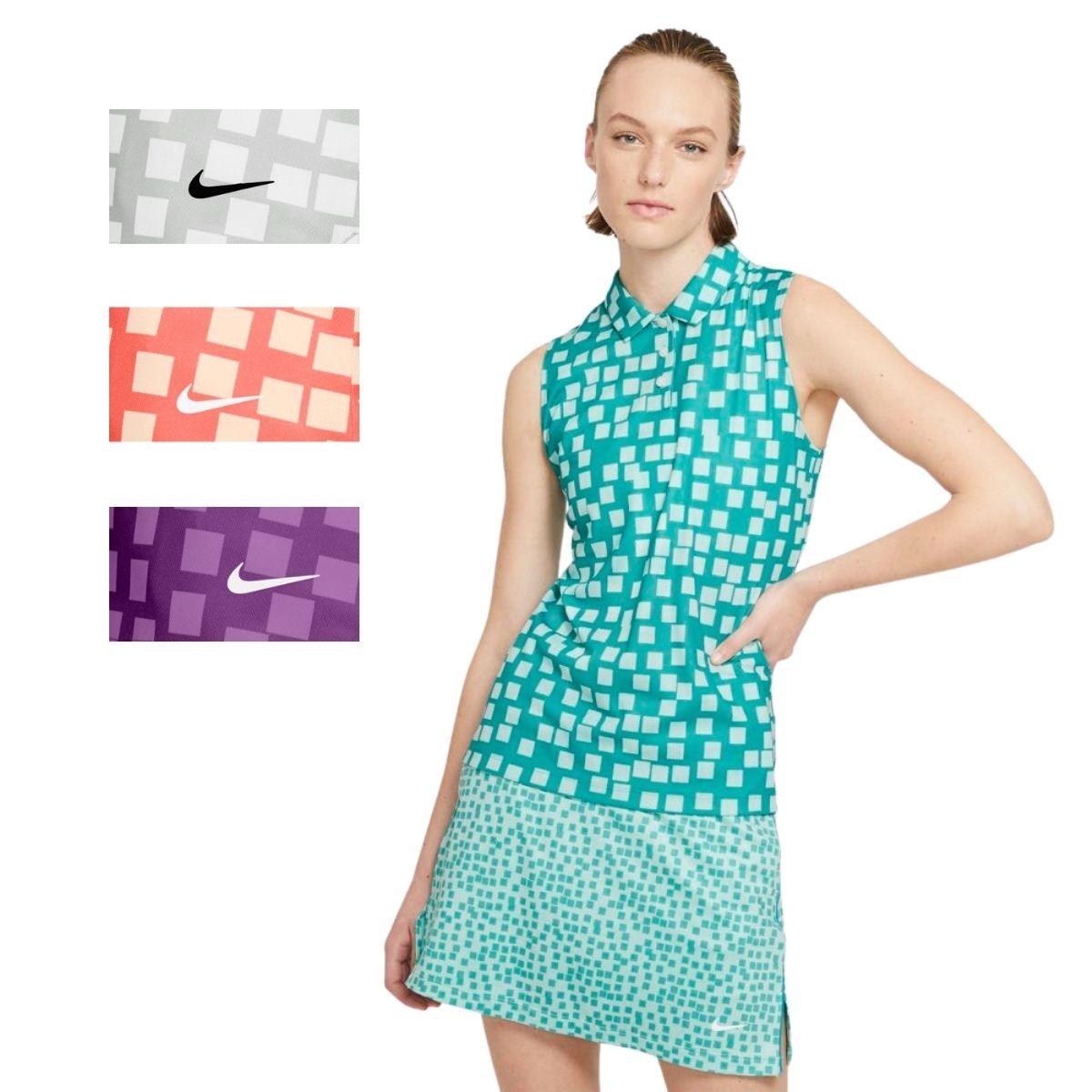 Nike Women's 2021 Dri-Fit Grid Print Sleeveless Golf Polo