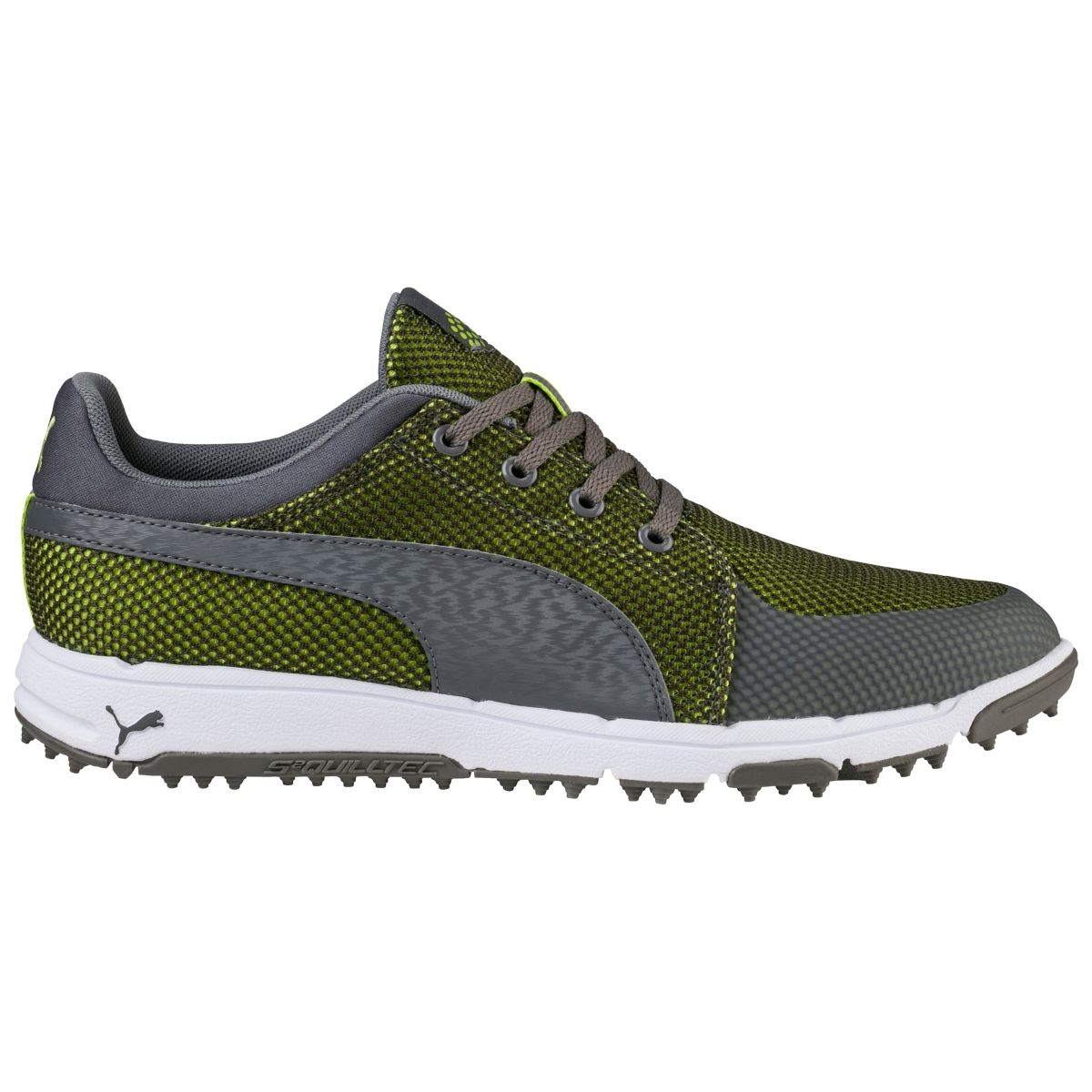 Puma Mens Grip Sport Tech Spikeless Golf Shoe - Shade/Lime