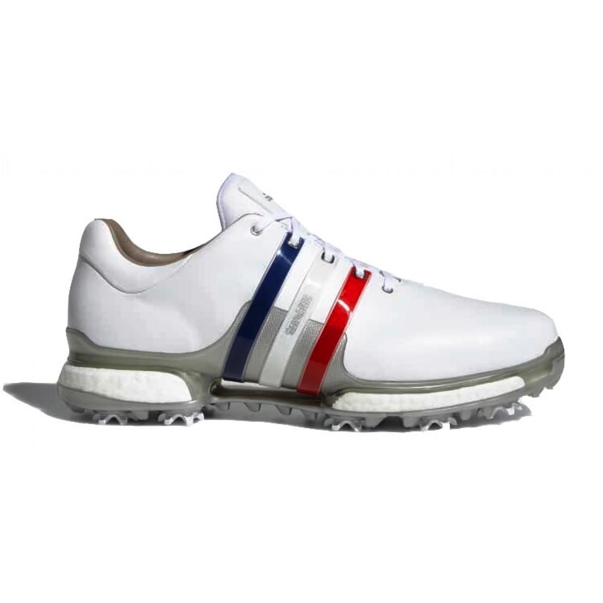 tania wyprzedaż usa brak podatku od sprzedaży niska cena Adidas Tour 360 Boost 2.0 Golf Shoes - White/Red/Blue