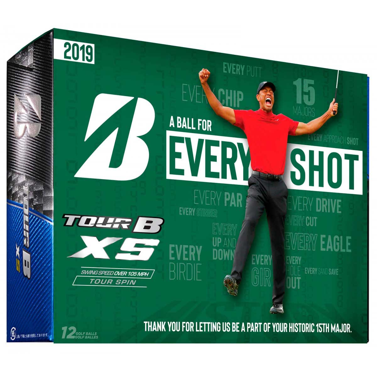 Bridgestone Tour B XS Tiger Woods A Ball For Every Shot Golf Balls